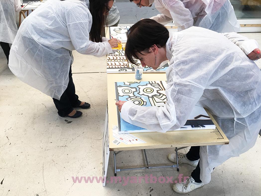 animation cohésion de groupe fresque peinture