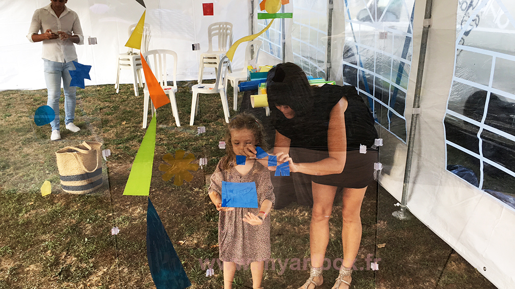 famille enfants pour la participation fresque animation garden party