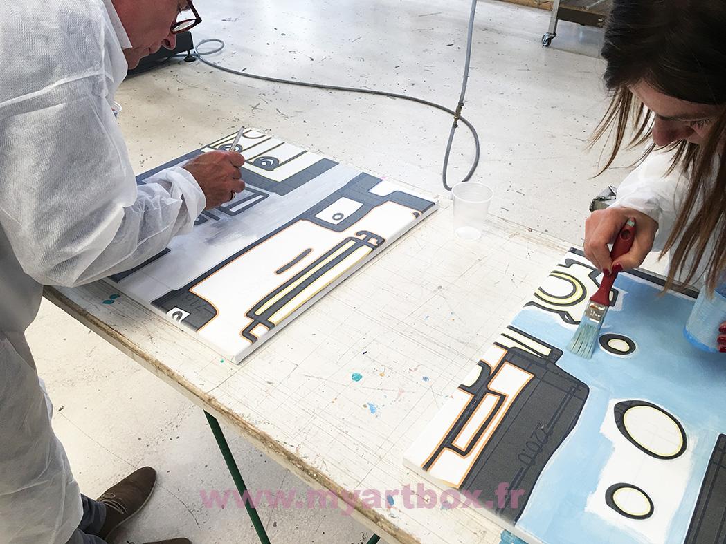 pinceau réalisation fresque peinture