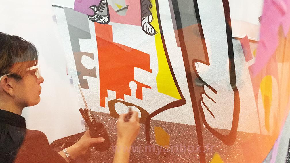 peinture de aNa fresque animation inauguration