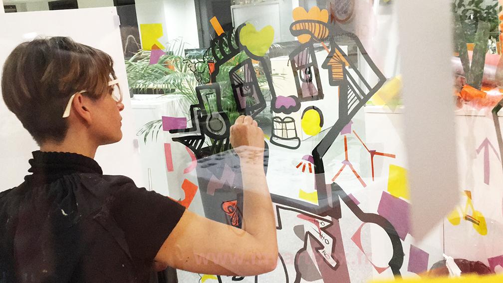 peinture fresque animation inauguration adhesif