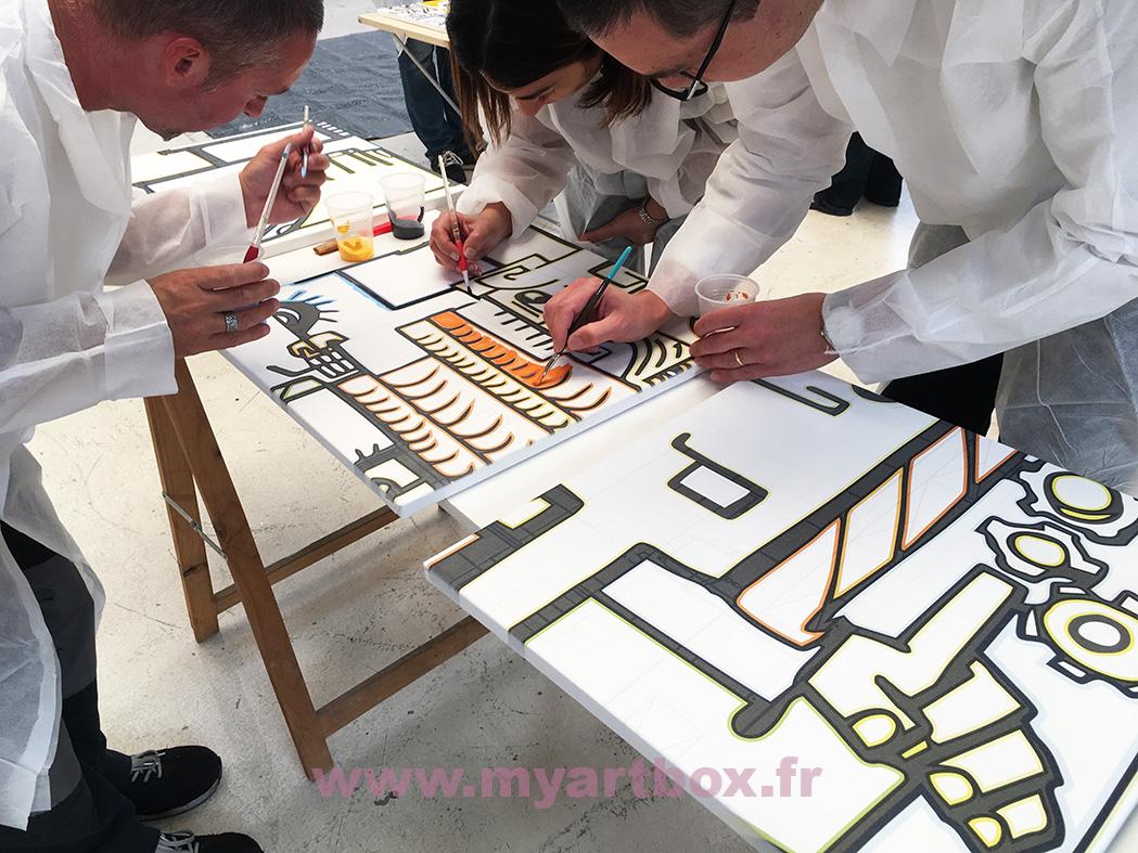 animation cohésion de groupe team building peinture