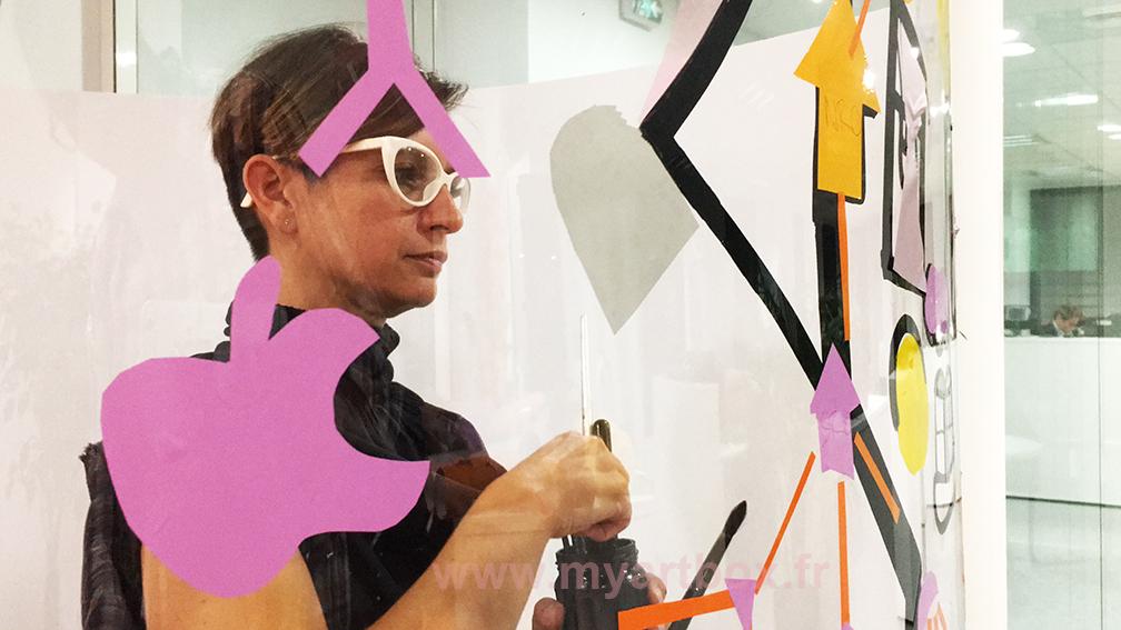 artiste aNa paint'tube fresque participative