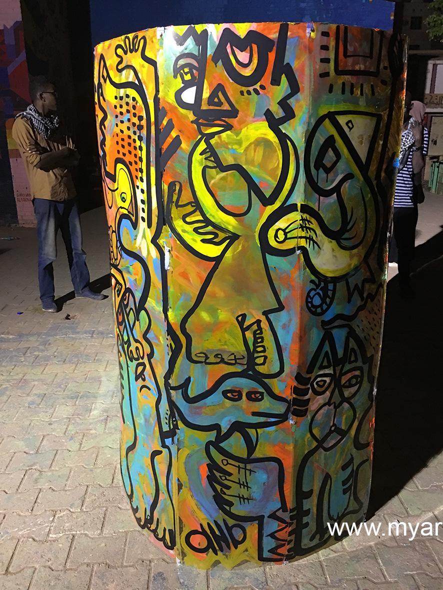 fresque totem art avec artiste aNa