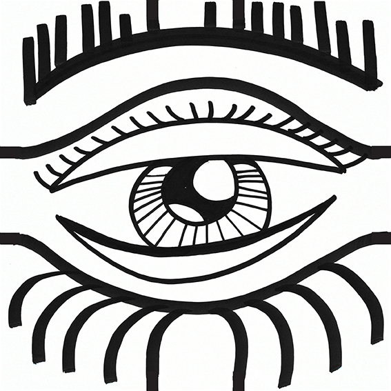 œil noir et blanc dessiné par aNa artiste My Art Box