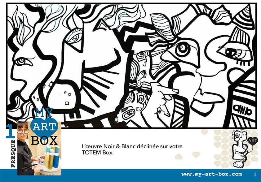 Dessin Noir et Blanc réalisé par aNa artiste pour Totem box Lyon